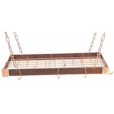Rogar Gourmet Custom Contrasting Hanging Pot Rack; Hammered Copper/Copper