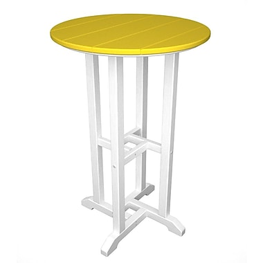 POLYWOOD Contempo Bar Table; White & Lemon