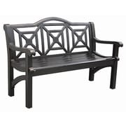 Innova Hearth and Home Concord Cast Aluminum Camelback Park Bench; Semi-Matte Black