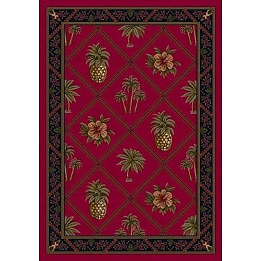 Milliken Signature Ruby Palm and Pineapple Area Rug; Oval 5'4'' x 7'8''