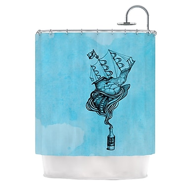 KESS InHouse All Aboard Shower Curtain; White