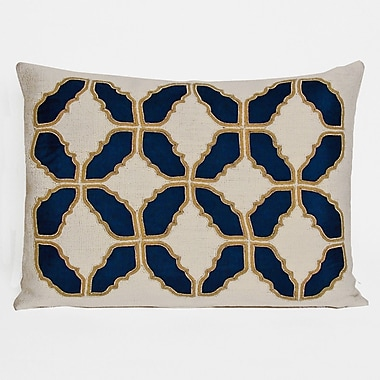 Kevin O'Brien Studio Baroque Embellished Tiles Cotton Lumbar Pillow; Indigo