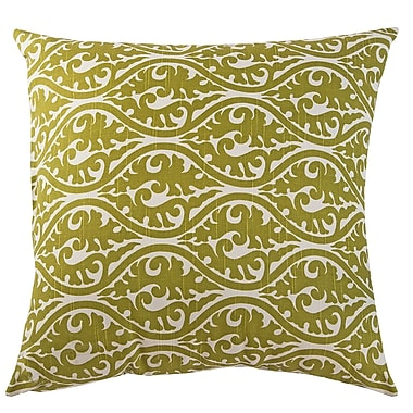 The Well Dressed Bed Kimono Accent Cotton Throw Pillow; Olive