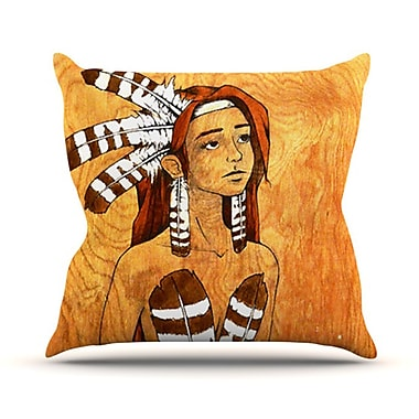 KESS InHouse Owl Feather Dress Throw Pillow; 18'' H x 18'' W