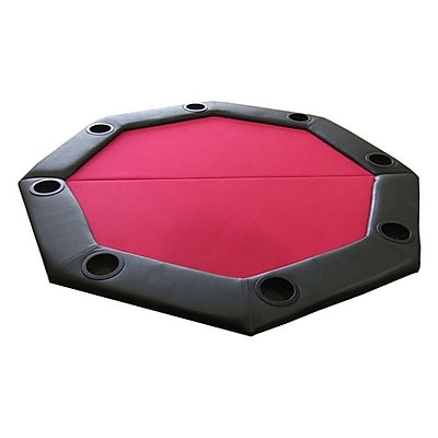 JP Commerce Padded Octagon Folding Poker Table Top; Red WYF078276217229