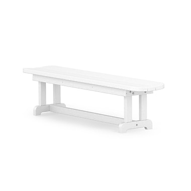 POLYWOOD Park Harvester 72'' Wood Picnic Bench; White