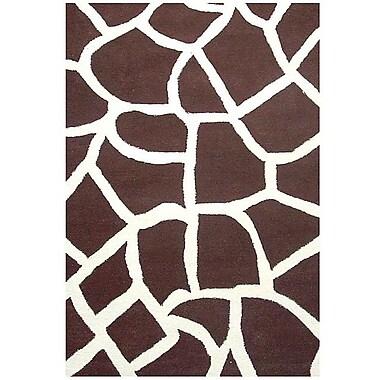 Acura Rugs Contempo Brown/White Area Rug; 5' x 8'