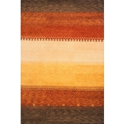 Momeni Desert Gabbeh Hand-Knotted Red/Yellow Area Rug; Round 8'