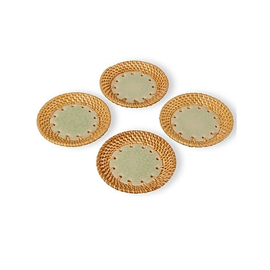 Emissary Ceramic and Rattan Coaster (Set of 4)