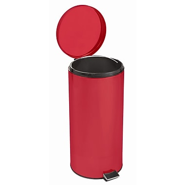 Brewer 8 Gallon Step On Trash Can; Red