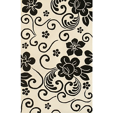 Noble House Floral White & Black Area Rug; 8' x 11'