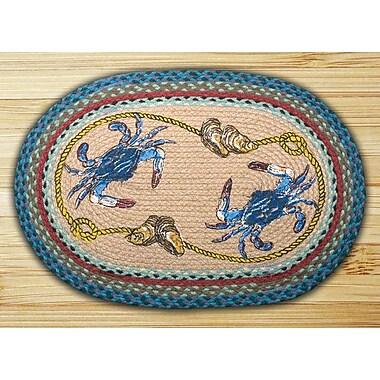 EarthRugs Blue Crab Printed Area Rug; Oval 1'8'' x 2'6''