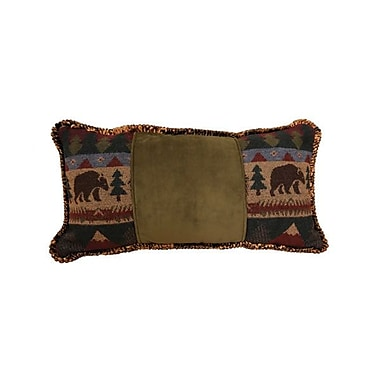 Wooded River Cabin Bear Cord Throw Pillow