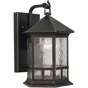 Forte Lighting 1-Light Outdoor Wall Lantern; 17.5'' H x 12.5'' W / Royal Bronze / Clear Seeded