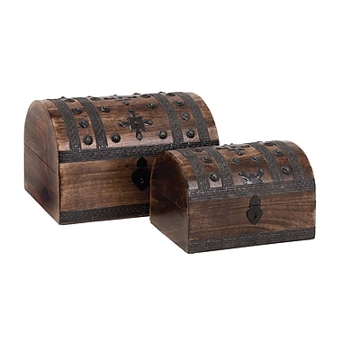 Woodland Imports Wood Metal Box (Set of 2)