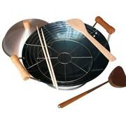 Taylor & Ng 8 Piece 14'' Preseasoned Double Handle Round Bottom Wok Set