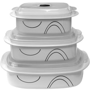 Corelle Simple Lines Microwave Cookware 3 Container Food Storage Set