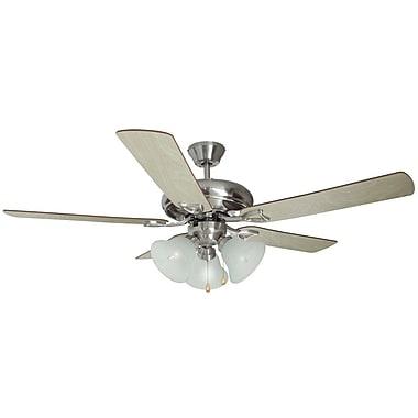 Design House 52'' Bristol 5-Blade Fan; Satin Nickel with Redwood/Light Maple Blade