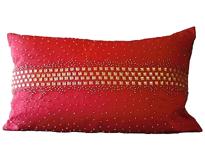 Debage Inc. Bling Crystal Diamond Throw Pillow; Red
