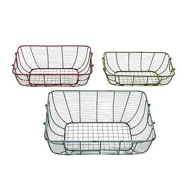 Cole & Grey 3 Piece Hand Crafted Metal Wire Basket Set