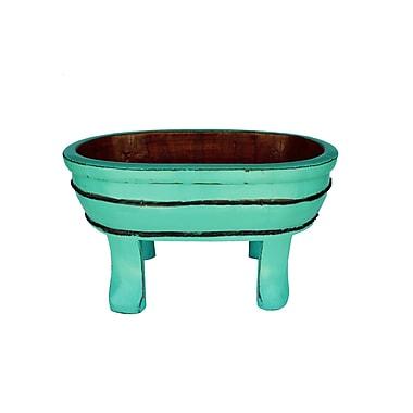 Antique Revival Vintage Oval Four Legged Basin Decorative Bowl; Turquoise