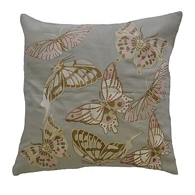 AV Home Butterfly Embroidered Linen Throw Pillow