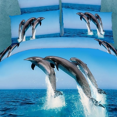 Dolce Mela Dolce Mela Atlantic Dolphins 6 Piece King Duvet Cover Set