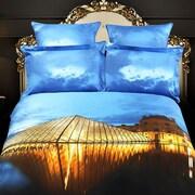Dolce Mela Louvre Paris Cotton 6 Pieces Reversible Duvet Cover Set; King