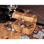 American Coin Treasure Historic Wooden 50 Old U.S. Coins Treasure Chest