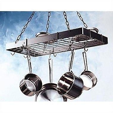 Rogar Rectangular Hanging Pot Rack w/ Grid; Black / Brass