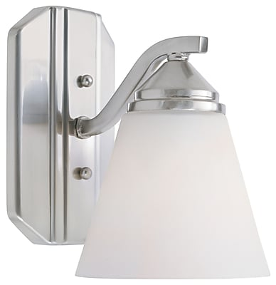Designers Fountain Piazza 1-Light Armed Sconce; Satin Platinum with Frosted White Shade