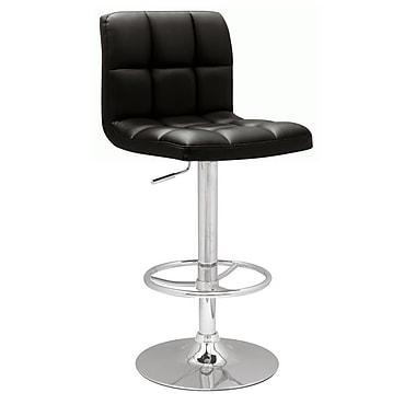 Chintaly Adjustable Height Swivel Bar Stool; Black PU