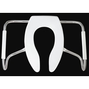 Bemis Medic Aid Safety Side Arm Commercial Open Front Less Cover Solid Plastic Elongated Toilet Seat