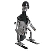 H & K SCULPTURES Downhill Skier 1 Bottle Tabletop Wine Rack