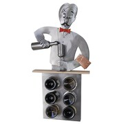 H & K SCULPTURES Bartender 6 Bottle Tabletop Wine Rack