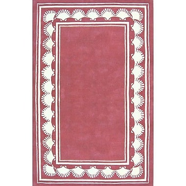 American Home Rug Co. Beach Rug Dusty Rose Shell Border Novelty Rug; Square 6'