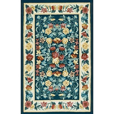 American Home Rug Co. Bucks County Navy/Ivory Floral Garden Area Rug; Round 5'