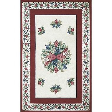 American Home Rug Co. Bucks County Tulip Ivory/Dark Rose Area Rug; 3' x 5'