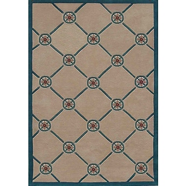 American Home Rug Co. Beach Rug Ivory/Teal Compass Novelty Rug; 5' x 8'