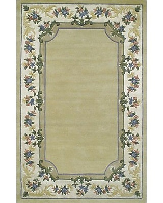 American Home Rug Co. Beautiful Yellow/Ivory Border Pale Floral Border Area Rug