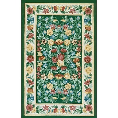 American Home Rug Co. Bucks County Green/Ivory Floral Garden Emerald Area Rug; Round 5'