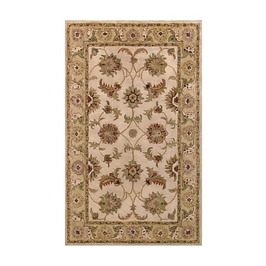 Noble House Harmony Beige/Light Green Floral Area Rug; 5' x 8'
