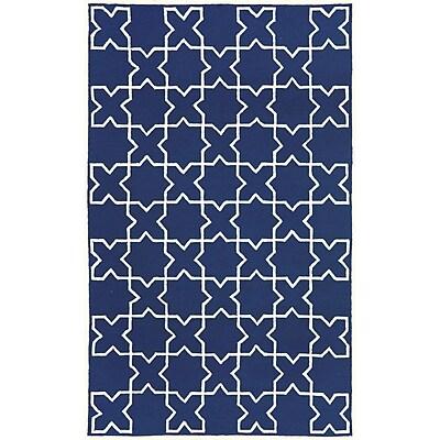 Liora Manne Capri Navy Moroccan Tile Outdoor Area Rug; 3'6'' x 5'6''