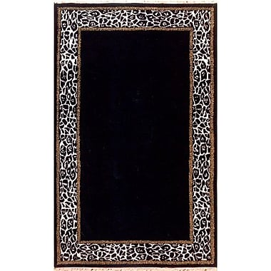 American Home Rug Co. African Safari Animal Skin Border Black/Off White Area Rug; Rectangle 5' x 8'