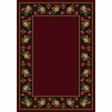 Milliken Design Center Cranberry Floral Lace Area Rug; Runner 2'4'' x 11'8''