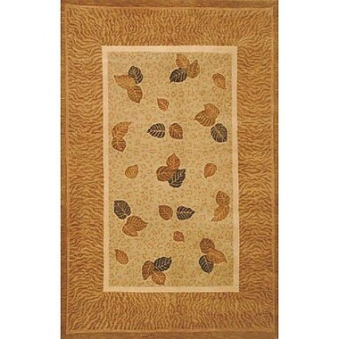 American Home Rug Co. Neo Nepal Pale Golden Leaves Pale Sage Area Rug; 3'6'' x 5'6''