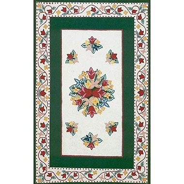 American Home Rug Co. Bucks County Tulip Ivory/Emerald Green Area Rug; Rectangle 3' x 5'