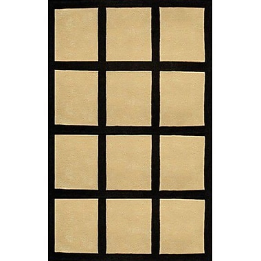 American Home Rug Co. Bright Sand/Black Window Blocks Area Rug; 5' x 8'