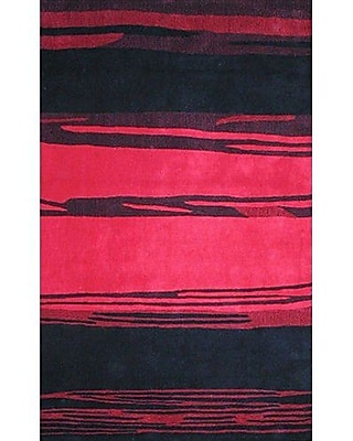 American Home Rug Co. Bright Horizon Pink/Black Area Rug; Rectangle 5' x 8'