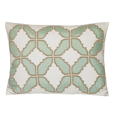 Kevin O'Brien Studio Baroque Embellished Tiles Cotton Lumbar Pillow; Mint